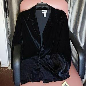 NEW velvet shirt 1X black longsleeved buttoned dow